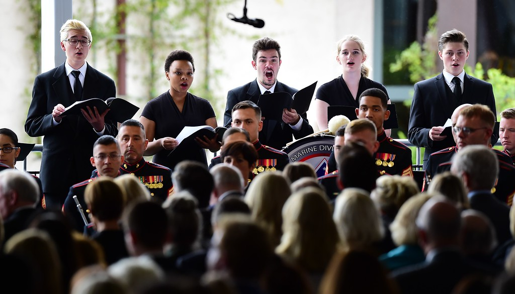 . The Santa Susana High School Choir sings during funeral services, as US former First Lady Nancy Reagan is laid to rest next to her husband, former US President Ronald Reagan, on March 11, 2016, at the Ronald Reagan Presidential Library in Simi Valley, California.  AFP PHOTO/FREDERIC J. BROWN/AFP/Getty Images