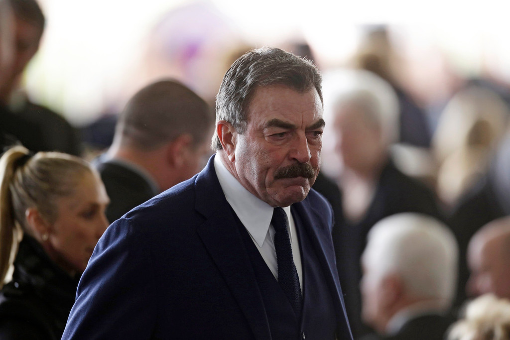 . Actor Tom Selleck arrives for funeral services for Nancy Reagan at the Ronald Reagan Presidential Library, Friday, March 11, 2016 in Simi Valley, Calif.  (Irfan Khan/Los Angeles Times via AP)