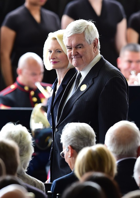. Former Speaker of the House of Representatives Newt Gingrich and his wife, Callista, arrive for funeral services for former First Lady Nancy Reagan at the Ronald Reagan Presidential Library on March 11, 2016, in Simi Valley, California.  AFP PHOTO/FREDERIC J. BROWN/AFP/Getty Images