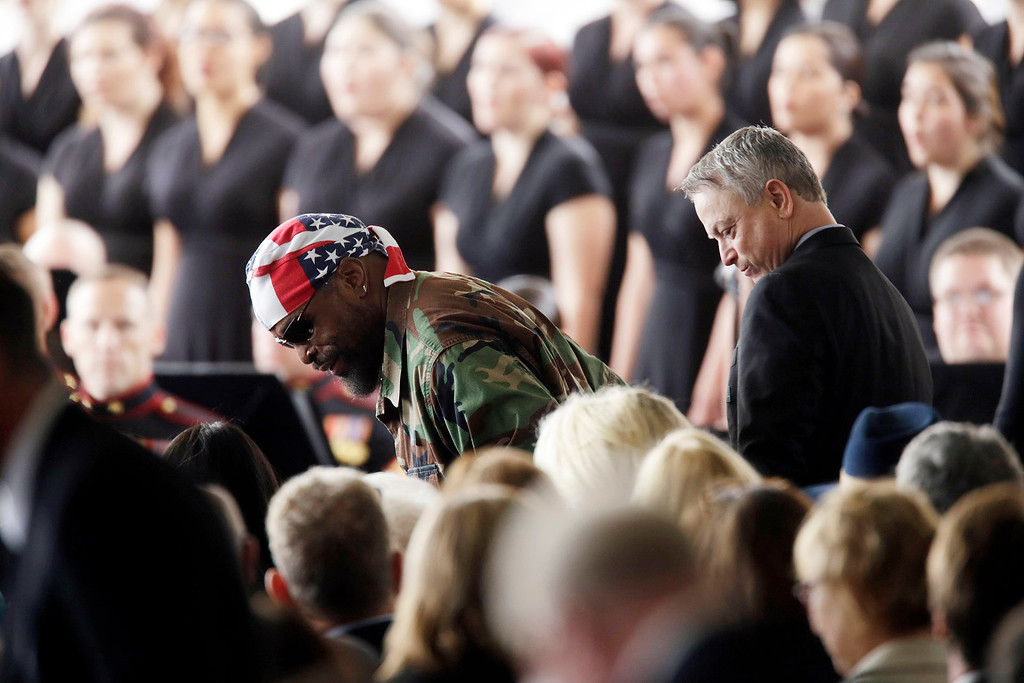 . Actors Mr. T and Gary Sinise arrive for funeral services for Nancy Reagan at the Ronald Reagan Presidential Library, Friday, March 11, 2016 in Simi Valley, Calif.  (Irfan Khan/Los Angeles Times via AP)