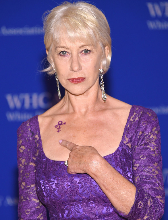 . Actress Helen Mirren shows her Prince symbol tribute at the 102nd White House Correspondents\' Association Dinner on April 30, 2016 in Washington, DC.  (Photo by Larry Busacca/Getty Images)