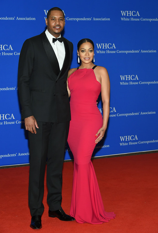 . Carmelo Anthony, left, and La La Anthony arrive at the White House Correspondents\' Association Dinner at the Washington Hilton Hotel on Saturday, April 30, 2016, in Washington. (Photo by Evan Agostini/Invision/AP)