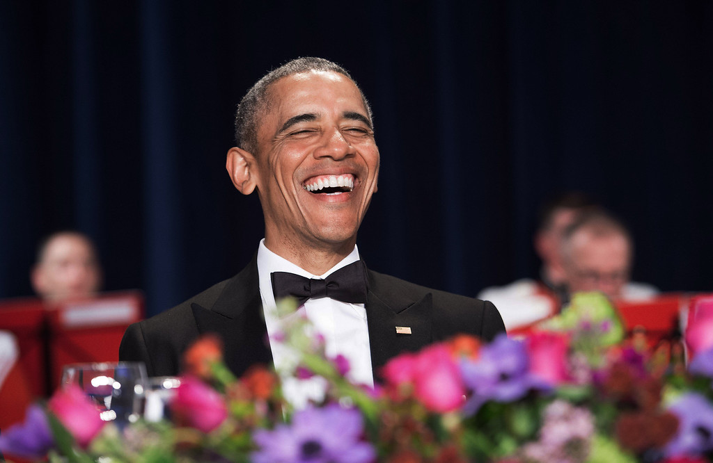 . US President Barack Obama attends the 102nd White House Correspondents\' Association Dinner in Washington, DC, on April 30, 2016. / AFP PHOTO / NICHOLAS KAMM/AFP/Getty Images