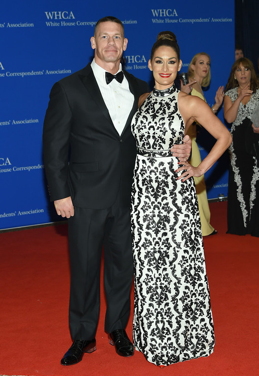 . John Cena, left, and Nikki Bella arrive at the White House Correspondents\' Association Dinner at the Washington Hilton Hotel on Saturday, April 30, 2016, in Washington. (Photo by Evan Agostini/Invision/AP)