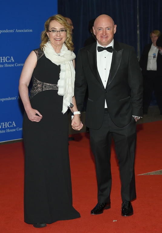 . Gabrielle Giffords, left, and Mark Kelly arrive at the White House Correspondents\' Association Dinner at the Washington Hilton Hotel on Saturday, April 30, 2016, in Washington. (Photo by Evan Agostini/Invision/AP)