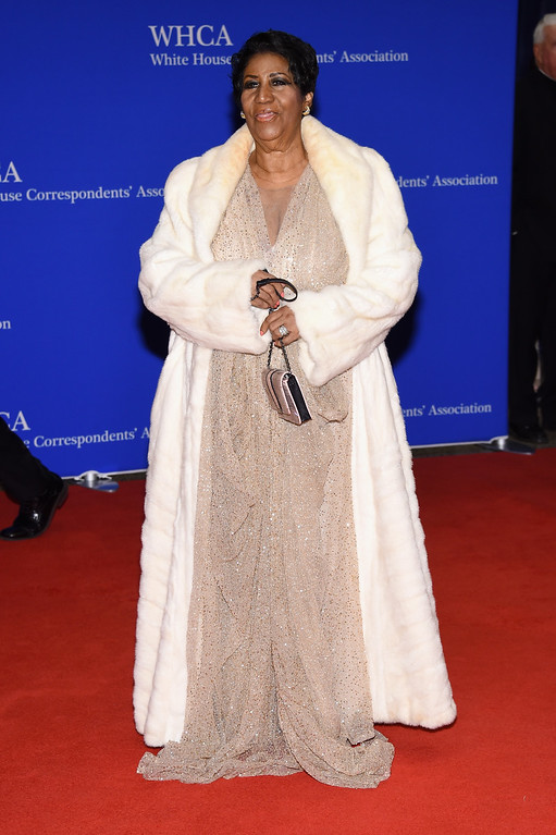 . Singer Aretha Franklin attends the 102nd White House Correspondents\' Association Dinner  on April 30, 2016 in Washington, DC.  (Photo by Larry Busacca/Getty Images)