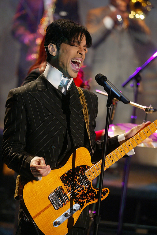 ". Prince at ""The Tonight Show with Jay Leno\"" at the NBC Studios in Burbank, Ca. Friday, Dec. 13, 2002. Photo by Kevin Winter/ImageDirect."