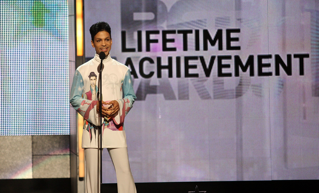 . Musician Prince accepts the Lifetime Achievement Award during the 2010 BET Awards held at the Shrine Auditorium on June 27, 2010 in Los Angeles, California.  (Photo by Frederick M. Brown/Getty Images)