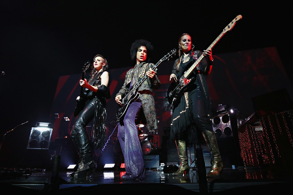 ". Prince performs onstage with 3RDEYEGIRL during his ""HitnRun\"" tour at Bell Centre on May 23, 2015 in Montreal, Canada.  (Photo by Cindy Ord/Getty Images for NPG Records 2015)"