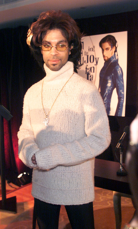 . Prince at a press conference in 2000 where he officially changed his name from the Artist back to Prince.   Photo by Scott Gries/ImageDirect
