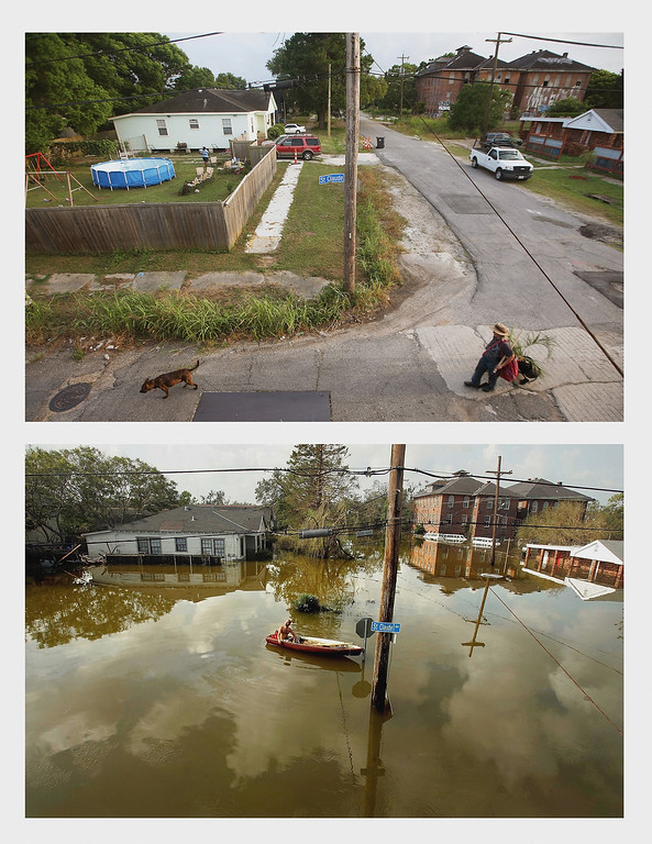 . (TOP PHOTO)- A woman walks with a dog in the Lower Ninth Ward on May 16, 2015 in New Orleans, Louisiana. The tenth anniversary of Hurricane Katrina, which killed at least 1,836 people and is considered the costliest natural disaster in U.S. history, is August 29.  (Photo by Mario Tama/Getty Images) (BOTTOM PHOTO) A man rides in a canoe in high water after Hurricane Katrina devastated the area August 31, 2005 in New Orleans, Louisiana. Devastation is widespread throughout the city with water approximately 12 feet high in some areas. Hundreds are feared dead and thousands were left homeless in Louisiana, Mississippi, Alabama and Florida by the storm. (Photo by Mario Tama/Getty Images)