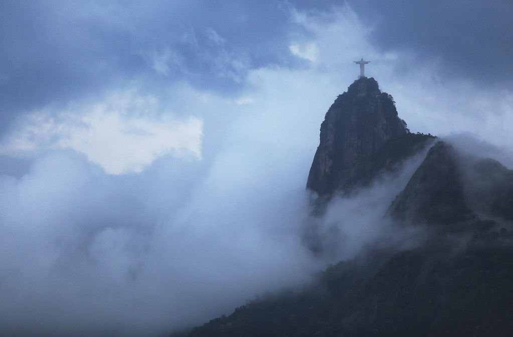 . The Christ the Redeemer statue is seen on Corcovado mountain on February 6, 2015 in Rio de Janeiro, Brazil. The city is gearing up to host the Rio 2016 Olympic Games. (Photo by Mario Tama/Getty Images)
