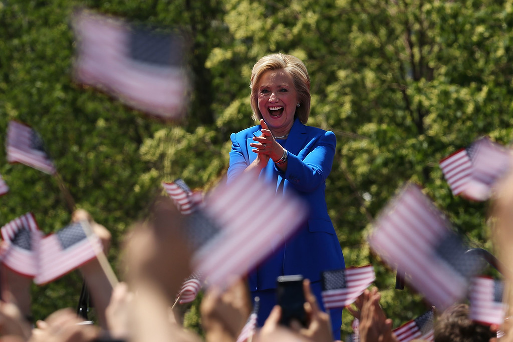 . People cheer after Democratic Presidential candidate Hillary Clinton finished her official kickoff rally at the Four Freedoms Park on Roosevelt Island in Manhattan on June 13, 2015 in New York City. The long awaited speech at a historical location associated with the values Franklin D. Roosevelt outlined in his 1941 State of the Union address, is the Democratic the candidate?s attempt to define the issues of her campaign to become the first female president of the United States.  (Photo by Spencer Platt/Getty Images)