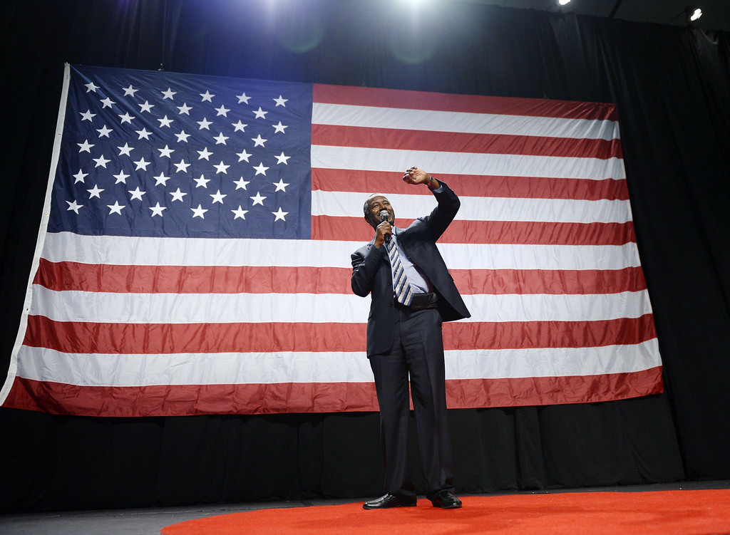 . Republican presidential candidate Ben Carson speaks during a campaign rally at the Anaheim Convention Center September 9, 2015 in Anaheim, California. Carson\'s poll numbers have surged nationally and in the early voting state of Iowa following his performance in the first Republican debate on August 6 to the point where he now trails only frontrunner Donald Trump.  (Photo by Kevork Djansezian/Getty Images)