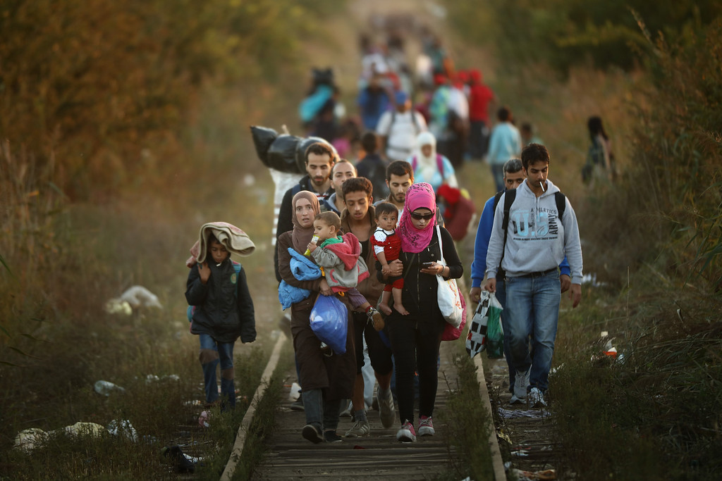. Migrants make their way through Serbia, near the town of Subotica, towards a break in the steel and razor fence erected on the  border by the Hungarian government on September 9, 2015 in Subotica, Serbia. Thousands of migrants have funneled their way across country to the small gap in the steel fence unopposed by the authorities.  Since the beginning of 2015 the number of migrants using the so-called \'Balkans route\' has exploded with migrants arriving in Greece from Turkey and then traveling on through Macedonia and Serbia before entering the EU via Hungary. The number of people leaving their homes in war torn countries such as Syria, marks the largest migration of people since World War II.  (Photo by Christopher Furlong/Getty Images)