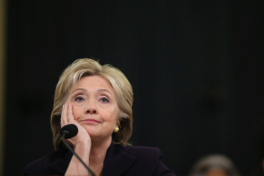 . Democratic presidential candidate and former Secretary of State Hillary Clinton testifies before the House Select Committee on Benghazi October 22, 2015 on Capitol Hill in Washington, DC. The committee held a hearing to continue its investigation on the attack that killed Ambassador Chris Stevens and three other Americans at the diplomatic compound in Benghazi, Libya, on the evening of September 11, 2012.  (Photo by Chip Somodevilla/Getty Images)