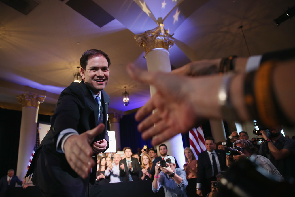. U.S. Sen. Marco Rubio (R-FL) greets people after announcing his candidacy for the Republican presidential nomination during an event at the Freedom Tower on April 13, 2015 in Miami, Florida. Rubio is one of three Republican candidates to announce their plans on running against the Democratic challenger for the White House.  (Photo by Joe Raedle/Getty Images)