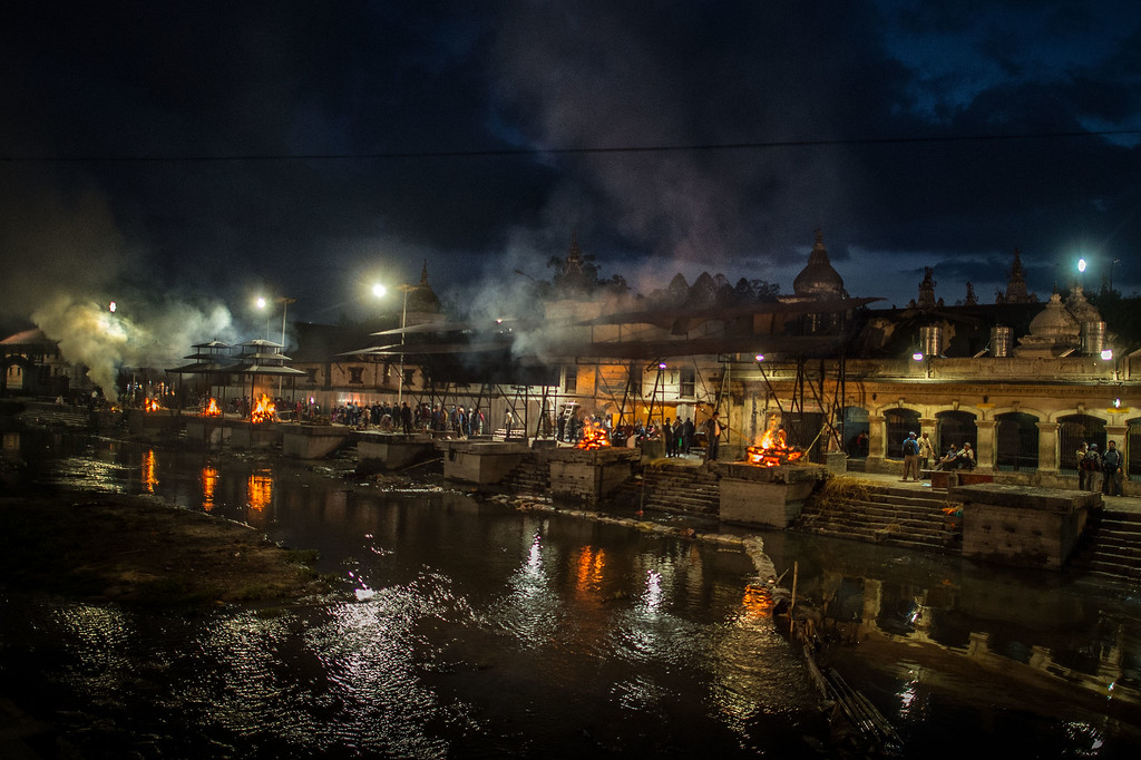 . Victims of the earthquake are cremated at Pashupatinah Temple on April 30, 2015 in Kathmandu, Nepal. A major 7.8 earthquake hit Kathmandu mid-day on Saturday, and was followed by multiple aftershocks that triggered avalanches on Mt. Everest that buried mountain climbers in their base camps. Many houses, buildings and temples in the capital were destroyed during the earthquake, leaving over 5500 dead and many more trapped under the debris as emergency rescue workers attempt to clear debris and find survivors. Regular aftershocks have hampered recovery missions as locals, officials and aid workers attempt to recover bodies from the rubble.  (Photo by David Ramos/Getty Images)