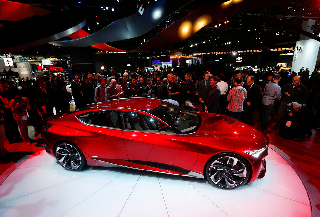 . The Acura Precision Concept debuts at the North American International Auto Show in Detroit, Tuesday, Jan. 12, 2016. (AP Photo/Paul Sancya)