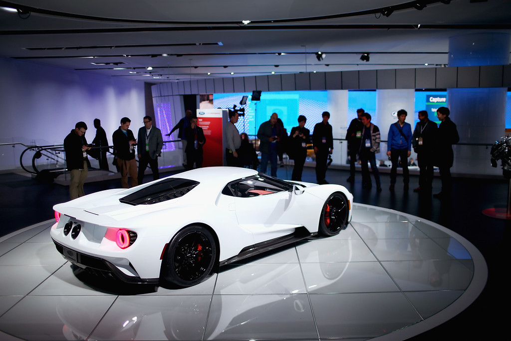 . Ford shows off their GT at the North American International Auto Show on January 12, 2016 in Detroit, Michigan. The show is open to the public from January 16-24.  (Photo by Scott Olson/Getty Images)