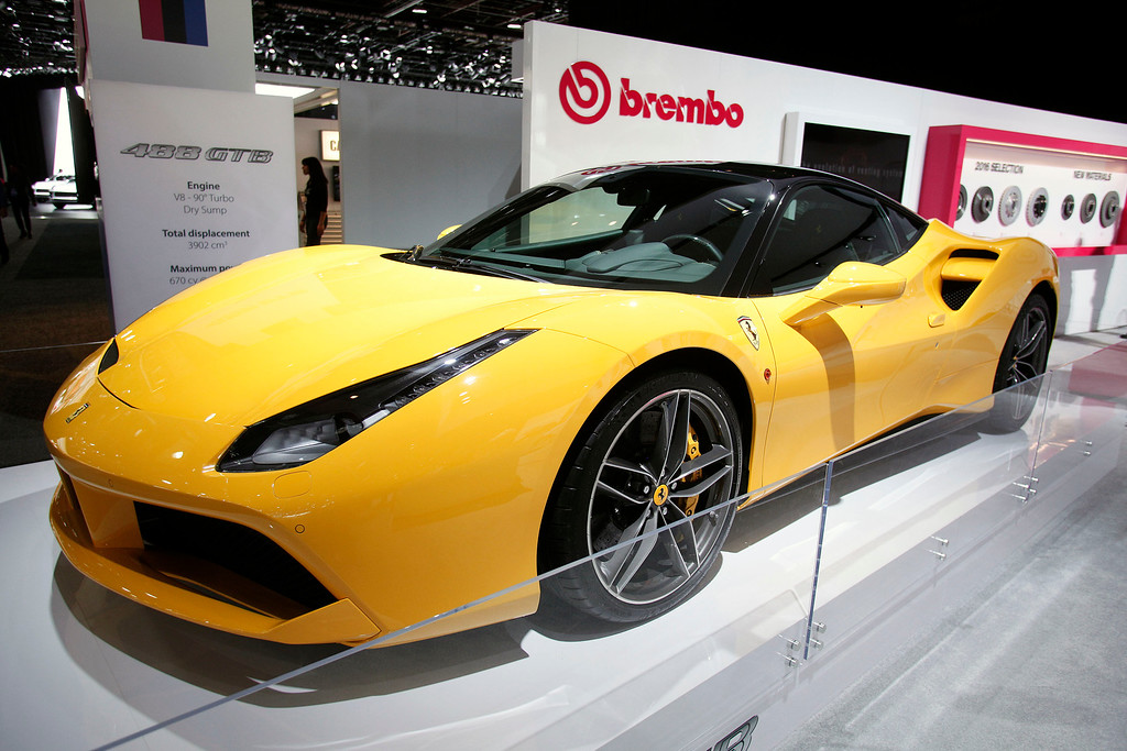 . A Ferrari 488 GTB is shown at the Brembo exhibit at the 2016 North American International Auto Show January 12, 2016 in Detroit, Michigan. The NAIAS runs from January 11th to January 24th and will feature over 750 vehicles and interactive displays.  (Photo by Bill Pugliano/Getty Images)