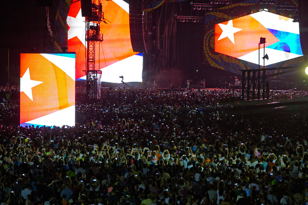 . Thousands gather at the Ciudad Deportiva as the Rolling Stones perform in Havana, Cuba, Friday March 25, 2016. The Stones are performing in a free concert in Havana Friday, becoming the most famous act to play Cuba since its 1959 revolution. (AP Photo/Ramon Espinosa)