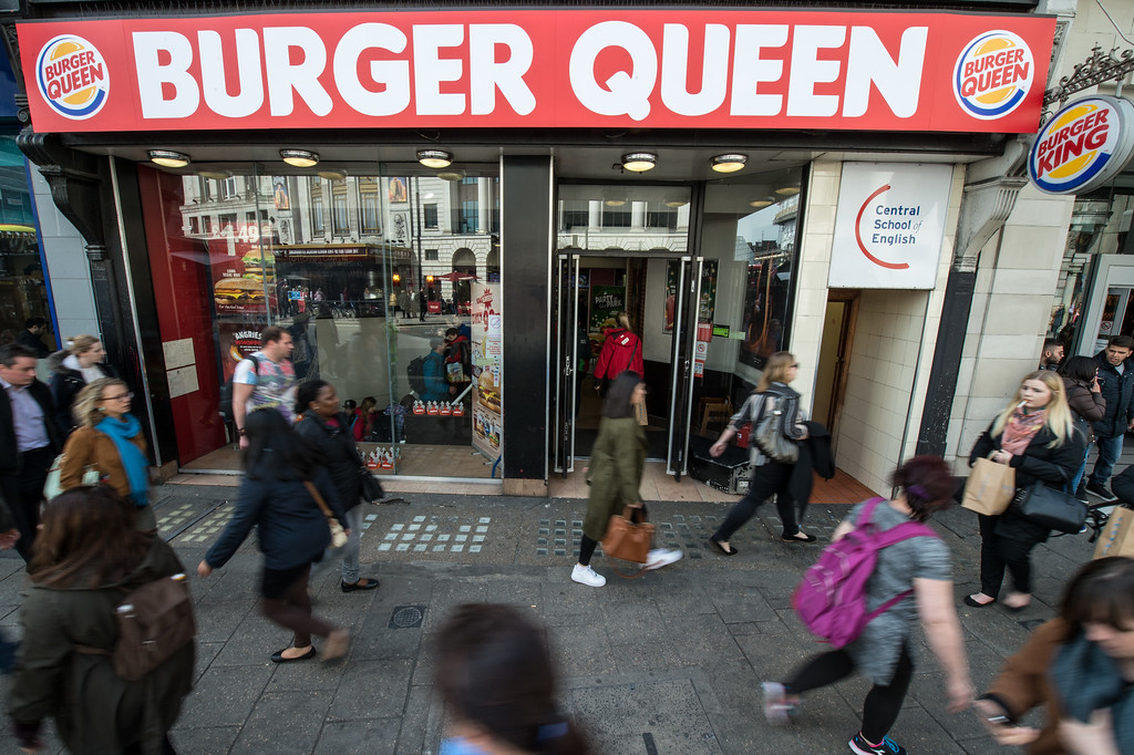 . A Burger King restaurant has changed its name to \'Burger Queen\' for the day to mark the 90th birthday of Queen Elizabeth II at Tottenham Court Road on April 21, 2016 in London, England. A series of events will celebrate the occasion including gun salutes across the capital and nationwide, a royal walkabout in Windsor and the lighting of 1000 beacons.  (Photo by Chris Ratcliffe/Getty Images)