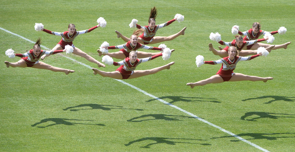. The Ponderosa Poms performed at halftime. Ponderosa High School boy\'s lacrosse team defeated Wheat Ridge 13-11 in the 4A championship game Saturday afternoon, May 17, 2014. (Photo by Karl Gehring/The Denver Post)