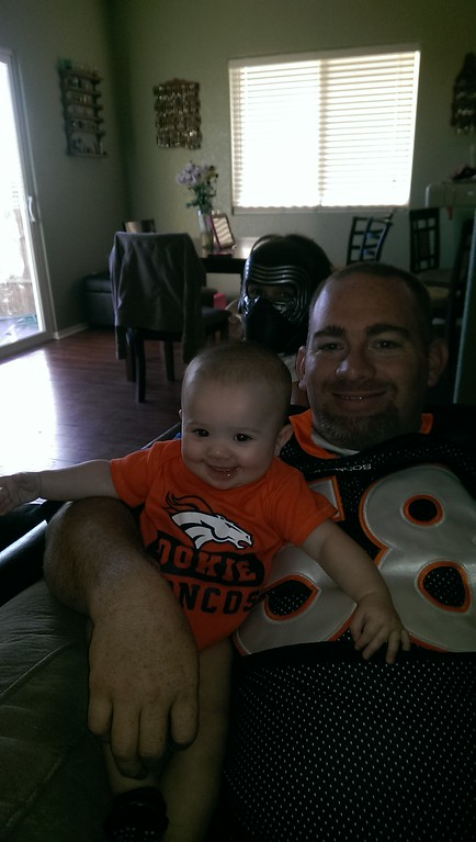 . Colorado natives in California, family tradition to watch the Broncos every Sunday. (Submitted by Benjamin Varner)