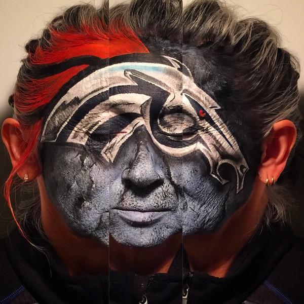 Carolynn Mascarenas, face painted and composite photo by her daughter Antonia Fernandez.