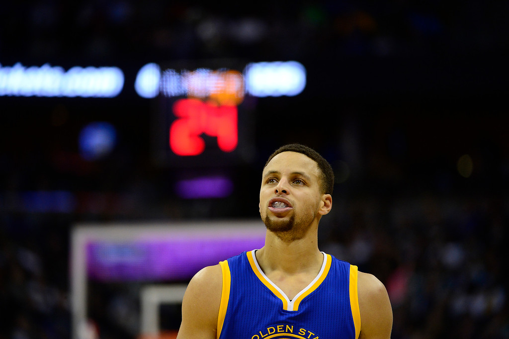 . DENVER, CO - JANUARY 13: Stephen Curry (30) of the Golden State Warriors resets after a foul during the second half at the Pepsi Center on January 13, 2016 in Denver, Colorado. The Nuggets defeated the Warriors 112-110, giving the Warriors their third loss of the season. (Photo by Brent Lewis/The Denver Post)