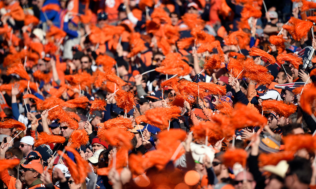 . Broncos fans cheer on the Broncos in the first quarter.  The Denver Broncos played the New England Patriots in the AFC championship game at Sports Authority Field at Mile High in Denver, CO on January 24, 2016. (Photo by Helen H. Richardson/The Denver Post)