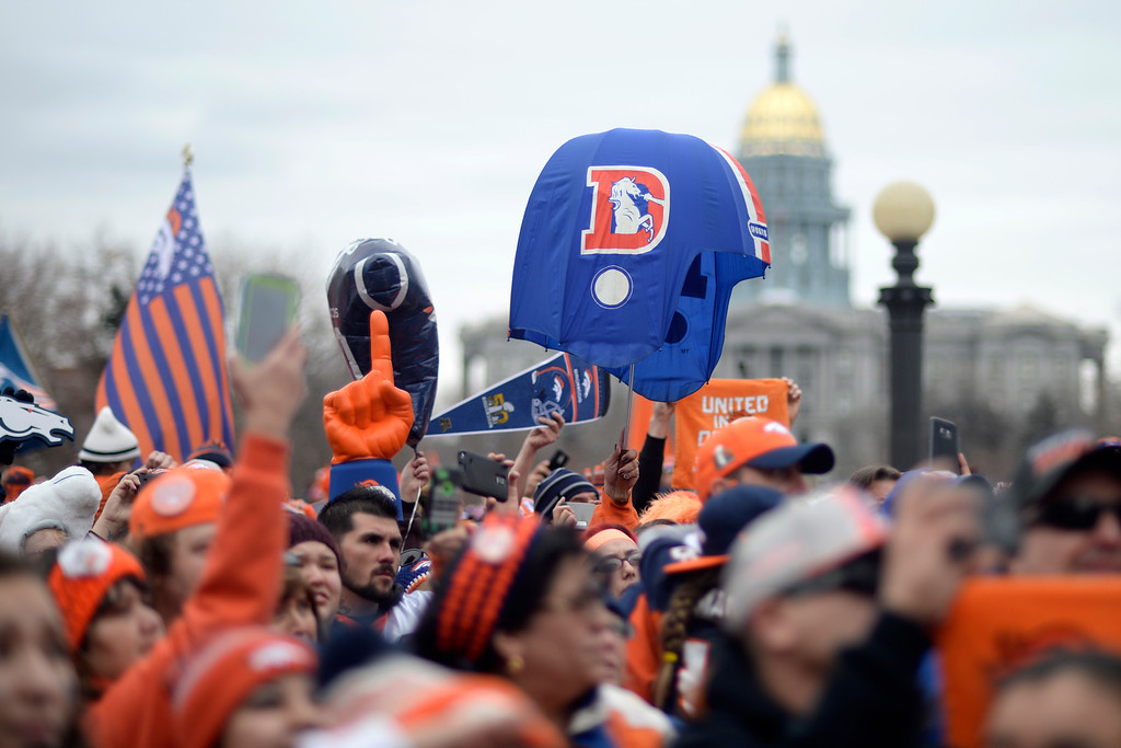 . DENVER, CO. - JANUARY 31: Broncos Fans cheer during a Denver Broncos fan rally on Sunday January 31, 2016. (Photo By AAron Ontiveroz/The Denver Post)