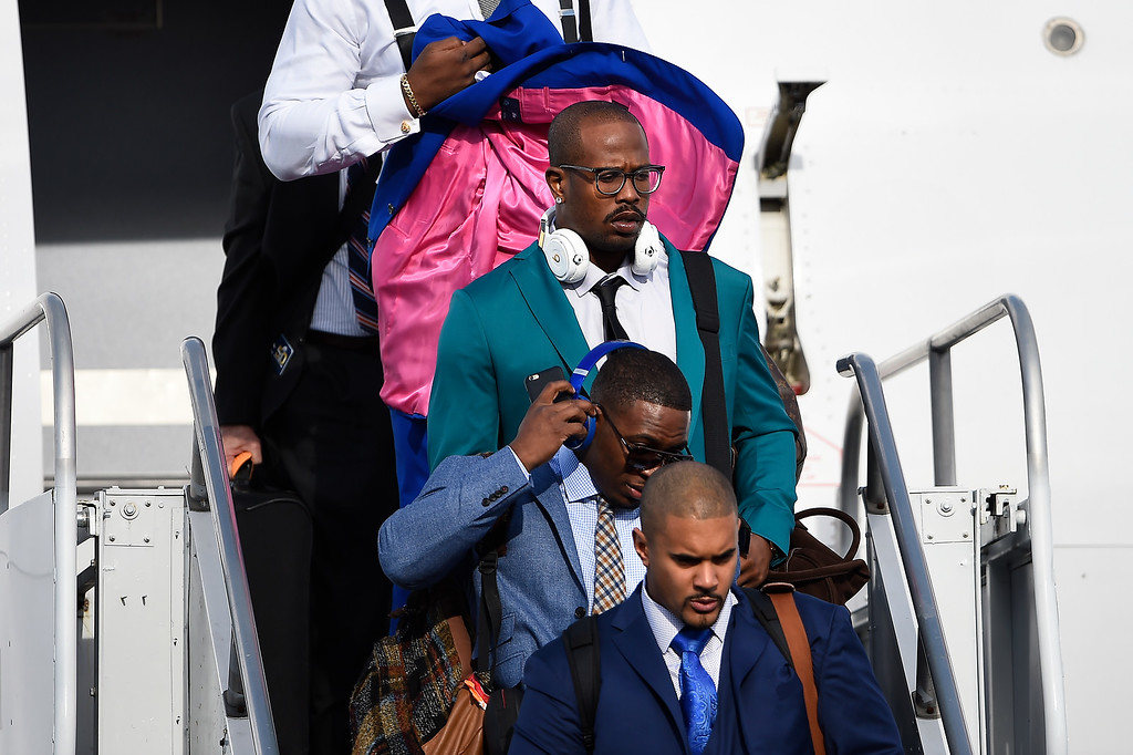 . SAN JOSE, CA - JANUARY 31: Denver Broncos linebacker Von Miller (58) is all business as the team arrives in California at the Mineta San Jose International Airport for Super Bowl 50, San Jose, CA. January 31, 2016 (Photo by Joe Amon/The Denver Post)