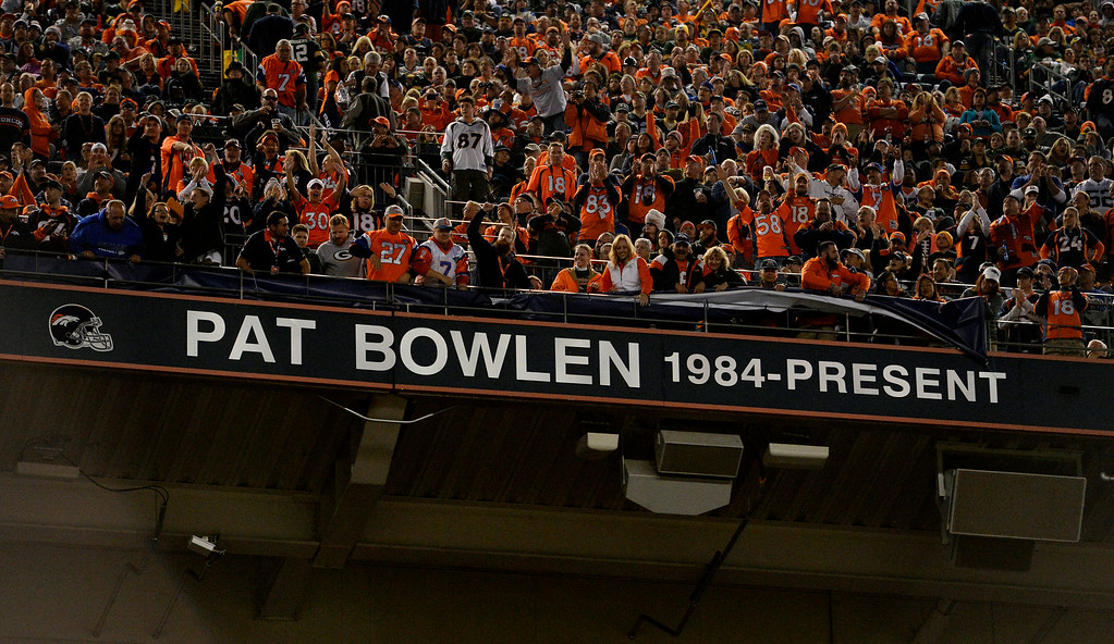 . The name of Pat Bowlen is revealed in the stadium during the halftime ceremony honoring owner Pat Bowlen.  The Denver Broncos played the Green Bay Packers at Sports Authority Field at Mile High in Denver, CO on November 1, 2015. (Photo by Helen H. Richardson/The Denver Post)
