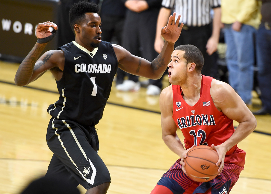 . Arizona forward Ryan Anderson looks to drive on Colorado\'s Wesley Gordon during the first half of an NCAA college basketball game Wednesday, Feb. 24, 2016, in Boulder, Colo. (AP Photo/Cliff Grassmick)
