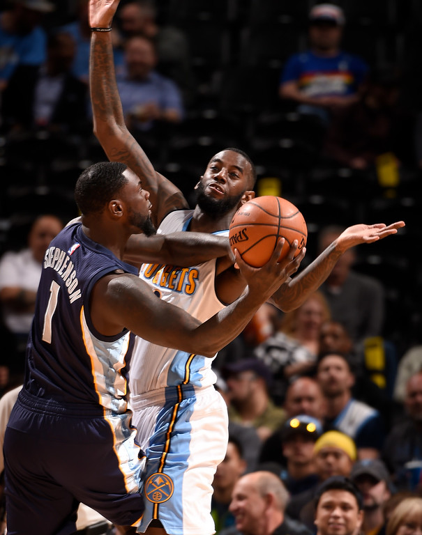 . DENVER, CO - FEBRUARY 29: Denver Nuggets guard JaKarr Sampson (9) forces Memphis Grizzlies forward Lance Stephenson (1) to make a pass during the second period February 29, 2016 at Pepsi Center. (Photo By John Leyba/The Denver Post)