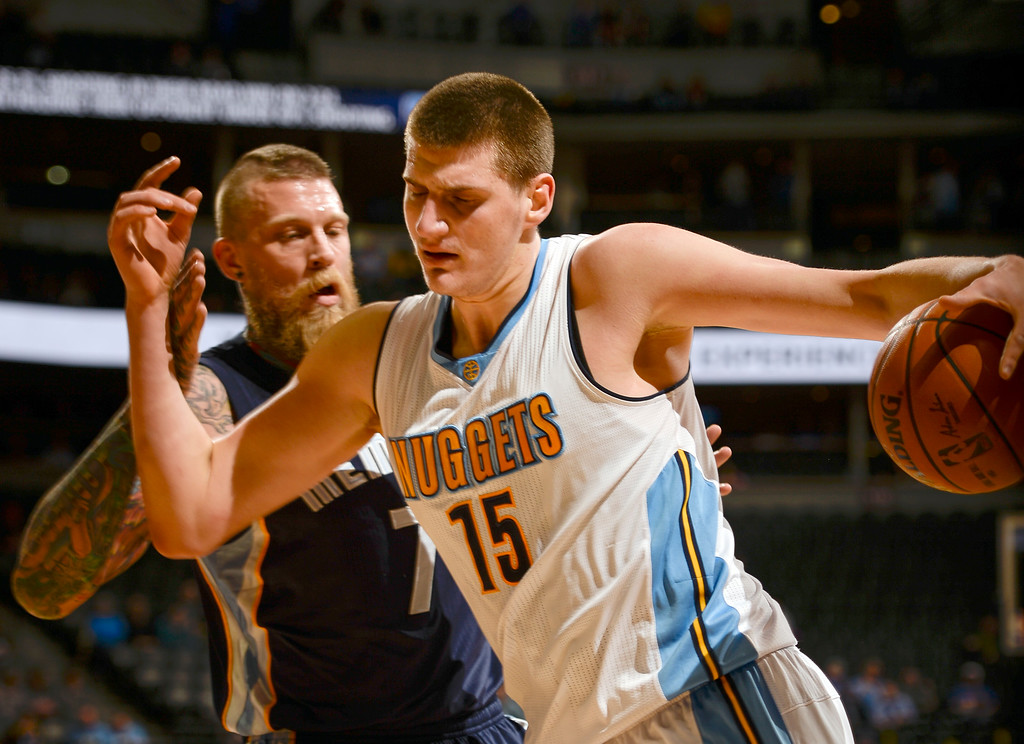 . DENVER, CO - FEBRUARY 29: Denver Nuggets center Nikola Jokic (15) drives on Memphis Grizzlies forward Chris Andersen (7)  February 29, 2016 at Pepsi Center. (Photo By John Leyba/The Denver Post)