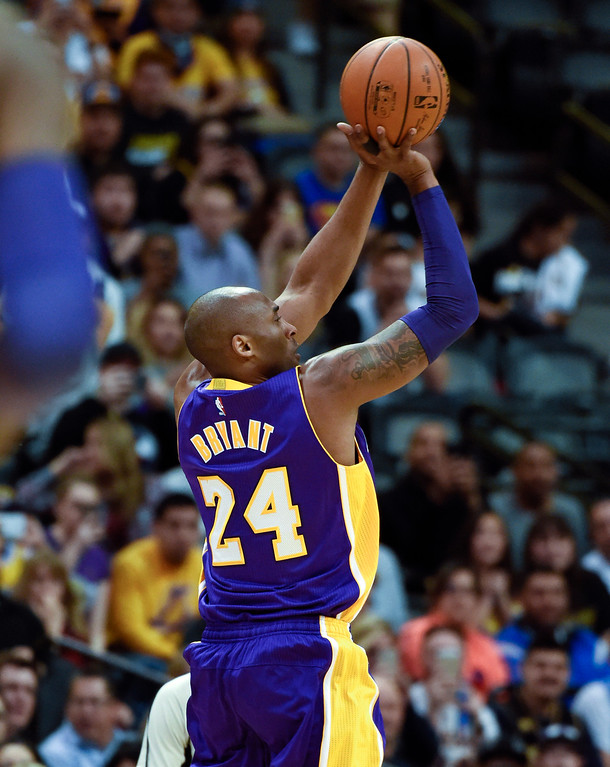 . DENVER, CO - MARCH 02: Los Angeles Lakers forward Kobe Bryant (24) takes a shot against the Denver Nuggets March 2, 2016 at Pepsi Center. This is Kobe\'s last game in Denver as he retires at the end of the season. (Photo By John Leyba/The Denver Post)