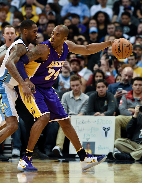 . DENVER, CO - MARCH 02: Denver Nuggets forward Will Barton (5) guards Los Angeles Lakers forward Kobe Bryant (24) March 2, 2016 at Pepsi Center. (Photo By John Leyba/The Denver Post)
