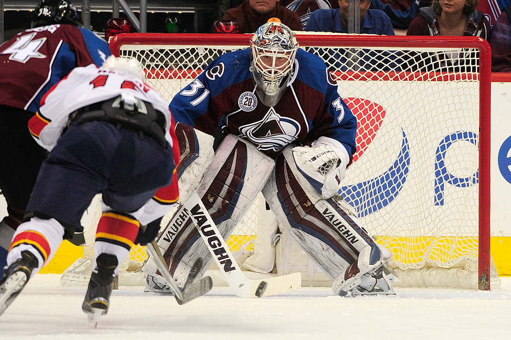 . DENVER, CO - MARCH 3: Colorado Avalanche goalie Calvin Pickard (31) blocks a shot during the first period at the Pepsi Center on March 3, 2016 in Denver, Colorado. (Photo by Brent Lewis/The Denver Post)
