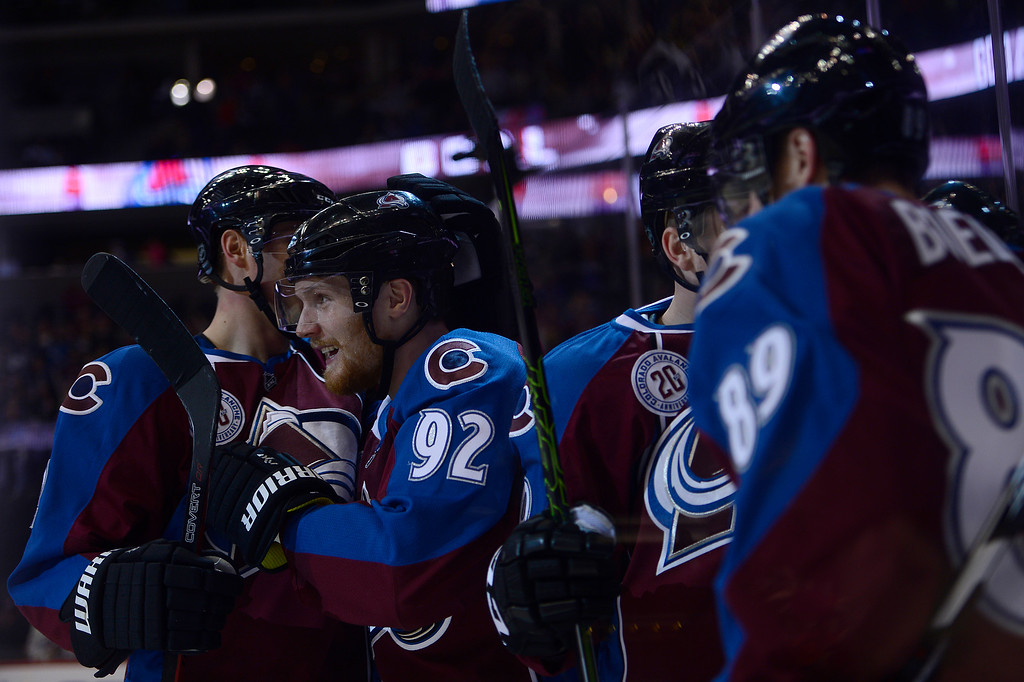 . DENVER, CO - MARCH 3: Colorado Avalanche celebrate after a goal from Colorado Avalanche left wing Mikkel Boedker (89) during the first period at the Pepsi Center on March 3, 2016 in Denver, Colorado. (Photo by Brent Lewis/The Denver Post)