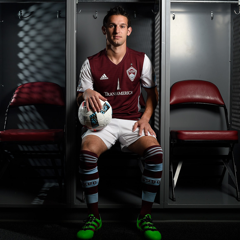 . COMMERCE CITY, CO - FEBRUARY 11: Zach Pfeffer poses for a portrait during Colorado Rapids media day on Thursday, February 11, 2016. (Photo by AAron Ontiveroz/The Denver Post)