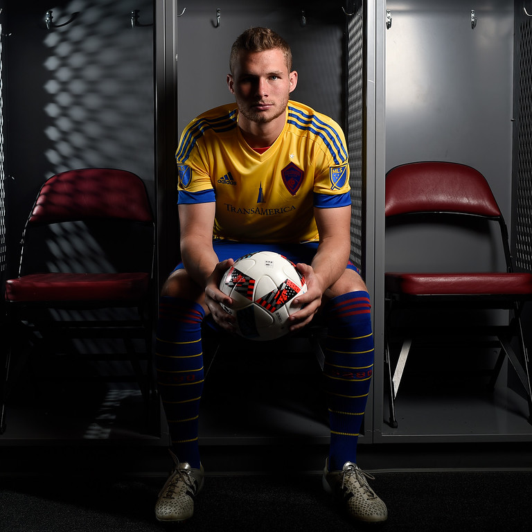 . COMMERCE CITY, CO - FEBRUARY 11: AJ Cochran poses for a portrait during Colorado Rapids media day on Thursday, February 11, 2016. (Photo by AAron Ontiveroz/The Denver Post)