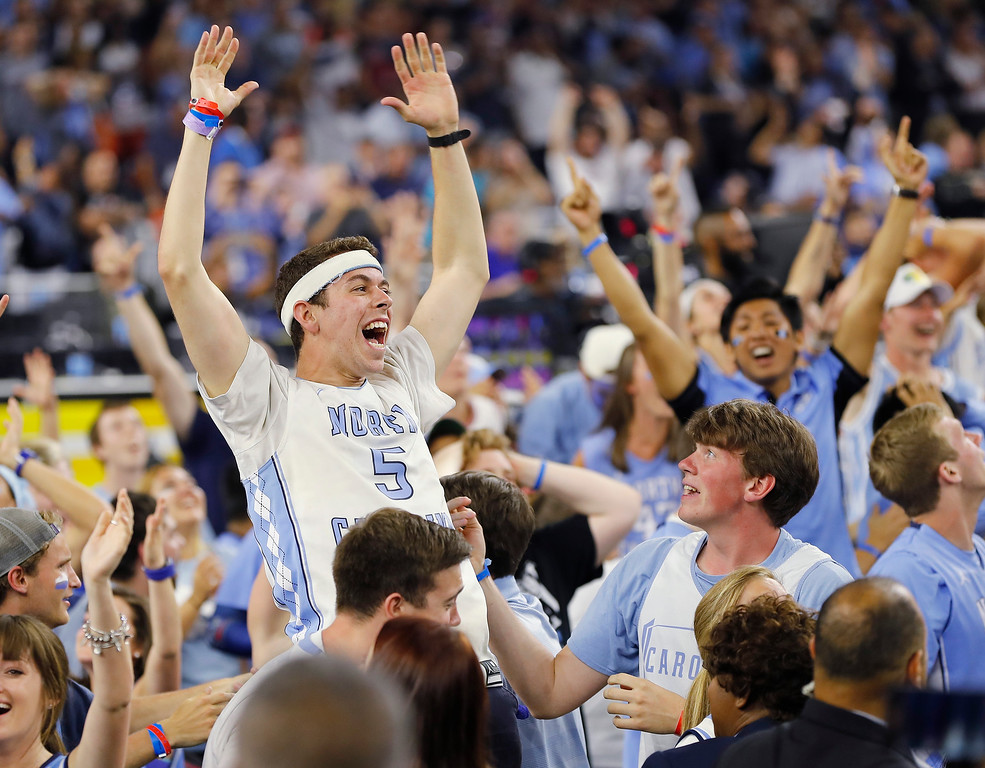 . North Carolina guard Marcus Paige (5) reacts to play against Villanova during the second half of the NCAA Final Four tournament college basketball championship game Monday, April 4, 2016, in Houston. (AP Photo/Kiichiro Sato)