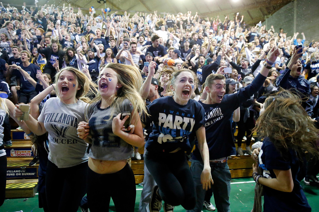 . Villanova basketball fans celebrate after Villanova defeated North Carolina in the NCAA Final Four tournament college basketball championship game, Monday, April 4, 2016, in Villanova, Pa. Villanova won 77-74. (AP Photo/Matt Rourke)