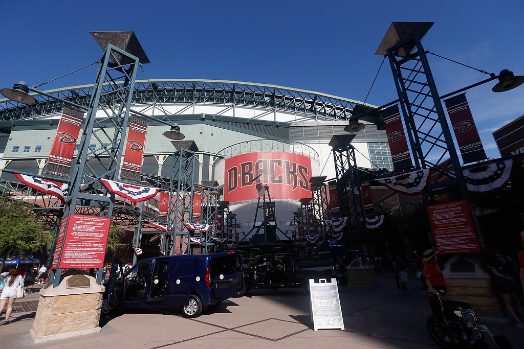 . PHOENIX, AZ - APRIL 04:  General view outside of Chase Field before the MLB opening day game between the Colorado Rockies and the Arizona Diamondbacks on April 4, 2016 in Phoenix, Arizona.  (Photo by Christian Petersen/Getty Images)