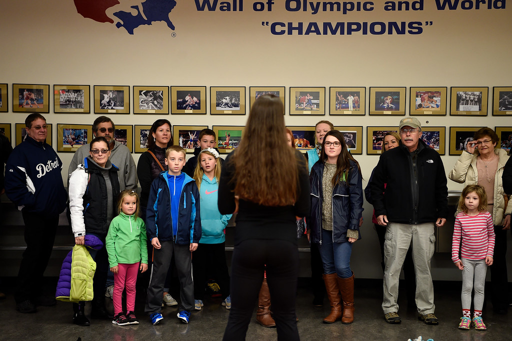 . COLORADO SPRINGS, CO - MARCH 31: United States Olympic hopeful Adeline Gray speaks with a tour group after practice on Thursday, March 31, 2016. Gray, who is a three-time world champion, is a favorite to become the United States\' first ever female Olympic wrestling champion. (Photo by AAron Ontiveroz/The Denver Post)