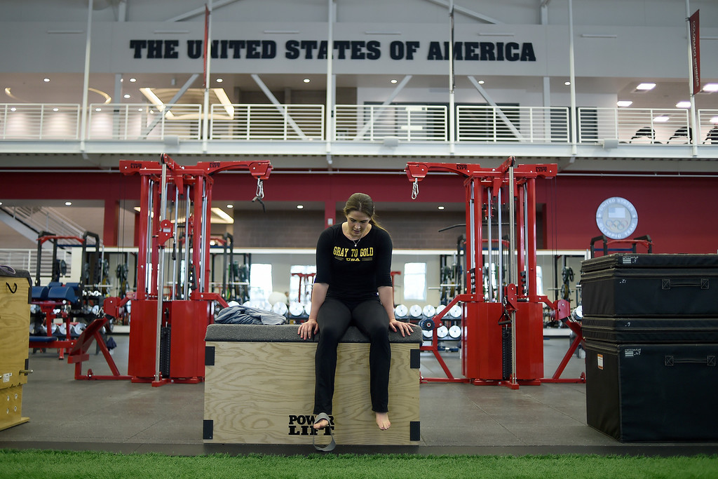 . COLORADO SPRINGS, CO - MARCH 31: United States Olympic hopeful Adeline Gray takes a breather during an afternoon workout on Thursday, March 31, 2016. Gray, who is a three-time world champion, is a favorite to become the United States\' first ever female Olympic wrestling champion. (Photo by AAron Ontiveroz/The Denver Post)