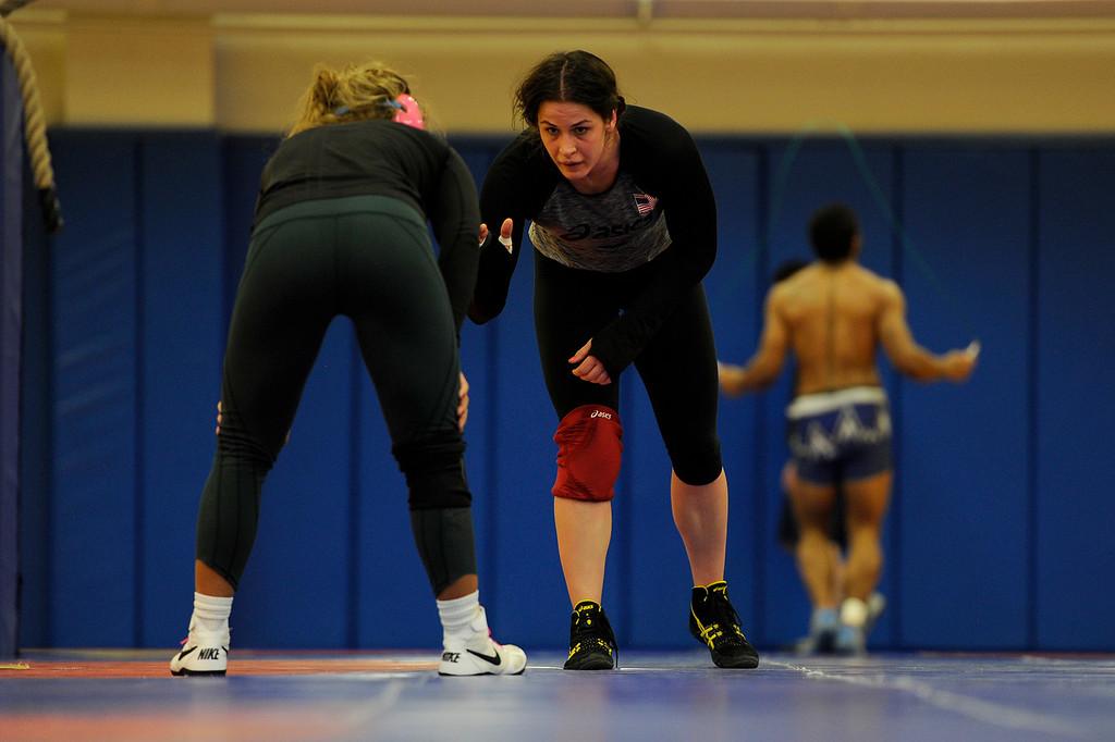 . COLORADO SPRINGS, CO - MARCH 31: United States Olympic hopeful Adeline Gray grapples with teammate Alli Ragan during practice on Thursday, March 31, 2016. Gray, who is a three-time world champion, is a favorite to become the United States\' first ever female Olympic wrestling champion. (Photo by AAron Ontiveroz/The Denver Post)